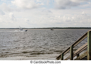 Fishing Boat Speeding Past Shrimper and Old Pier - Small...
