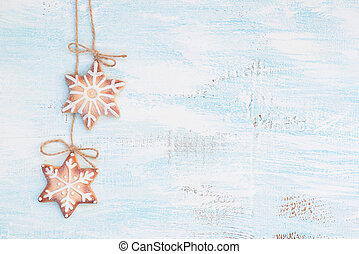 Christmas background - Gingerbread cookies on the wooden...