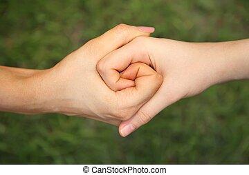 dois, acoplado, mãos
