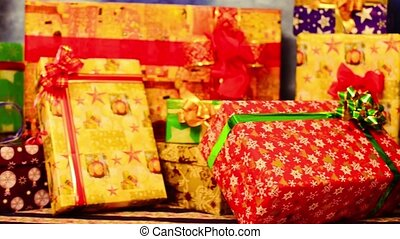 Christmas gift boxes - Holiday present boxes at colorful...