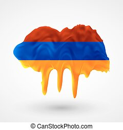 Armenian flag painted colors. Blot with paint streaks with...