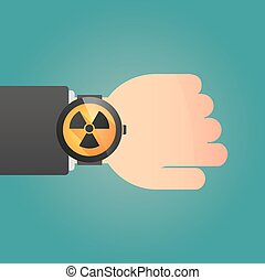 Smart watch icon with a radioactivity sign - Illustration of...