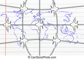 travel industry: airplanes and air traffic over world map