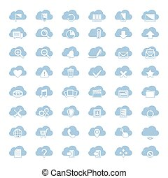 Big vector set of forty-six blue cloud shapes with white...