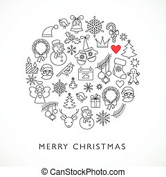 Christmas ball - black and white line icons, arranged in...
