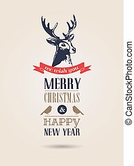 Christmas card, retro air mail concept with deer