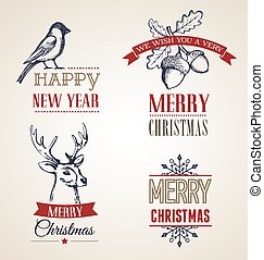 Christmas concept with typography and ribbons - collection...