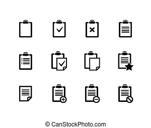 Clipboard icons - Vector black Clipboard icons on white...