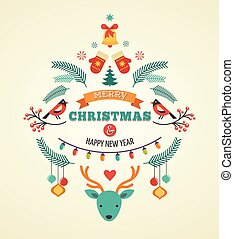 Christmas design with birds, elements and deer