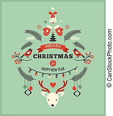 Christmas design with birds, elements and deer - Vintage...