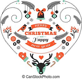 Christmas design heart with birds and elements - Vintage...