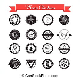 Set of labels, designs and elements for Christmas - Set of...