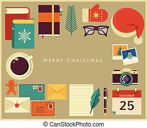 Christmas Santa's desktop flat vector design