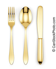 Golden fork, spoon and knife - 3d render of golden fork,...