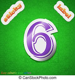 number six icon sign. Symbol chic colored sticky label on green background. Vector