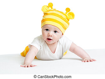 funny baby weared hat lying on belly