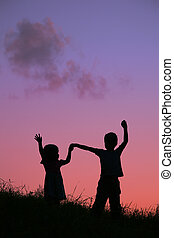 children on sunset