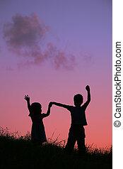 children on sunset