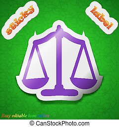 Scales balance icon sign Symbol chic colored sticky label on...
