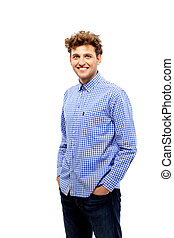 Handsome casual man standing over white background