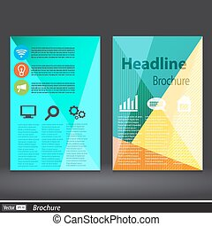 Abstract Triangle brochure. Vector flyer design template a4...