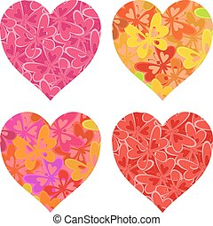 Valentine hearts with butterflies pattern