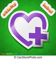 Medical heart icon sign. Symbol chic colored sticky label on green background. Vector