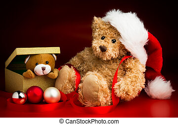Teddy Bear Wearing a Christmas Hat and a Toy Bear Peeking...