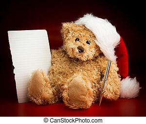 Brown Teddy Bear Writing a Letter to Santa Claus - A brown...