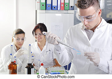 Attractive young PhD students scientists - Attractive young...