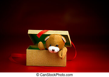 Christmas Teddy Popping Out of a Gift Box - Brown Christmas...