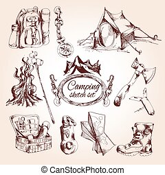 Camping sketch set with tent campfire tourist map isolated...