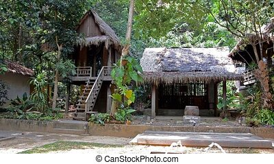 Thailand. Landscape. - thailand, bungalow in tropical forest
