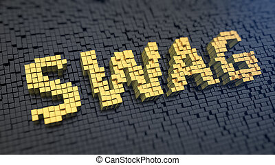 SWAG cubics - Word SWAG of the yellow square pixels on a...