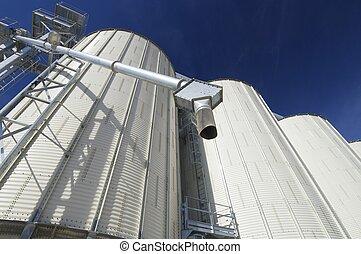 White silo - Detail of a metallic silo.