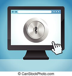 Vector internet security concept  - lock on the screen