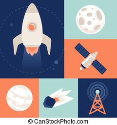 Vector space icons in flat style - space ship and rocket