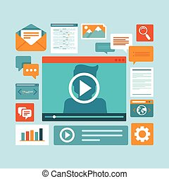 Vector e-learning concept in flat style - digital content...
