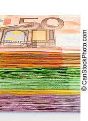 many euro banknotes - many different euro bills. photo icon...