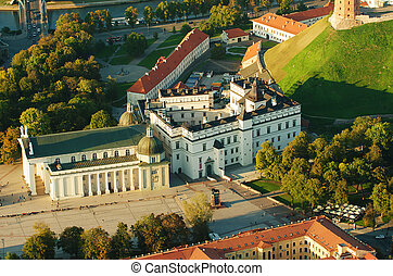 Old Town of Vilnius, Lithuania. Aerial view from piloted...