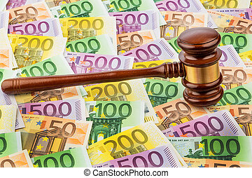 judge gavel and euro banknotes. symbol photo for costs in...