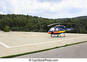 Helicopter on the site.