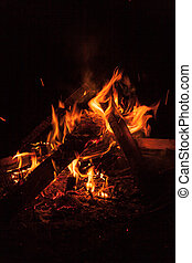 Bonfire at night - Camping Bonfire with sparks at night time