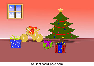 Santa Claus brought Christmas gifts