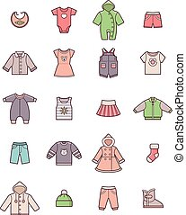 Baby clothes icon set - Set of the baby clothes icons