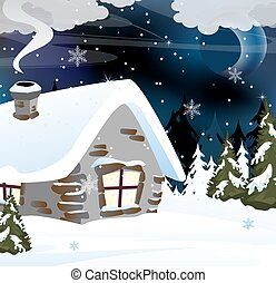 brique, maison, dans, a, neigeux, forêt,