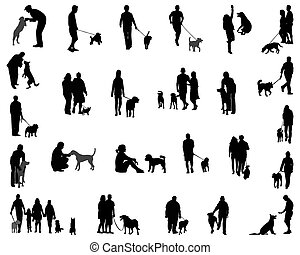 people with dog - Black silhouettes of people with dog,...