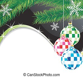 Christmas spheres and fur-tree branch - Original fur-tree...