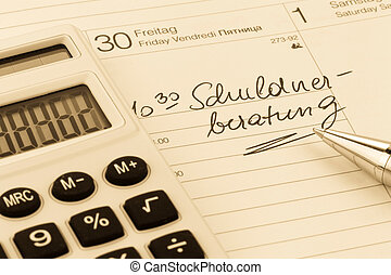 calendar note debt - calendar entry debt, symbolic photo for...
