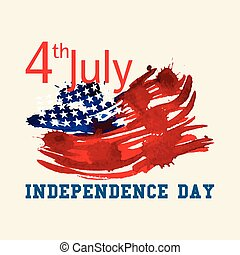 Greeting card with US flag Independence day of United states...